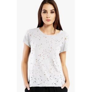 Michael Stars distressed destroyed white t shirt